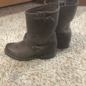 Distressed grey brown Frye boot